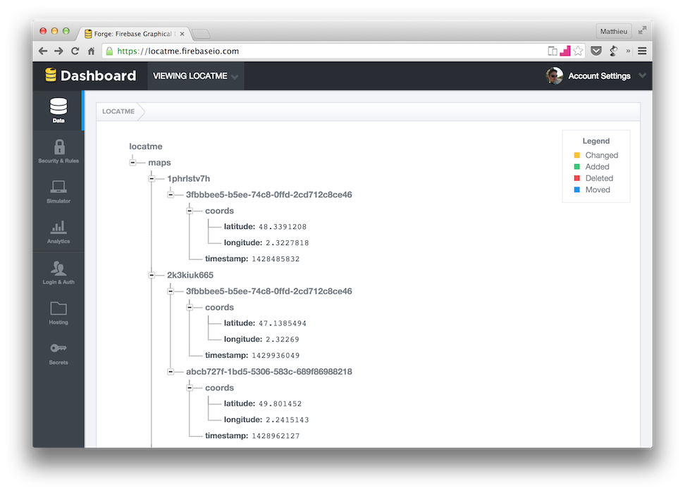 Firebase admin screenshot